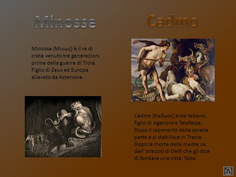 Minosse Cadmo. Minosse (Μινως) è il re di creta venuto tre generazioni prima della guerra di Troia. Figlio di Zeus ed Europa allevato da Asterione.