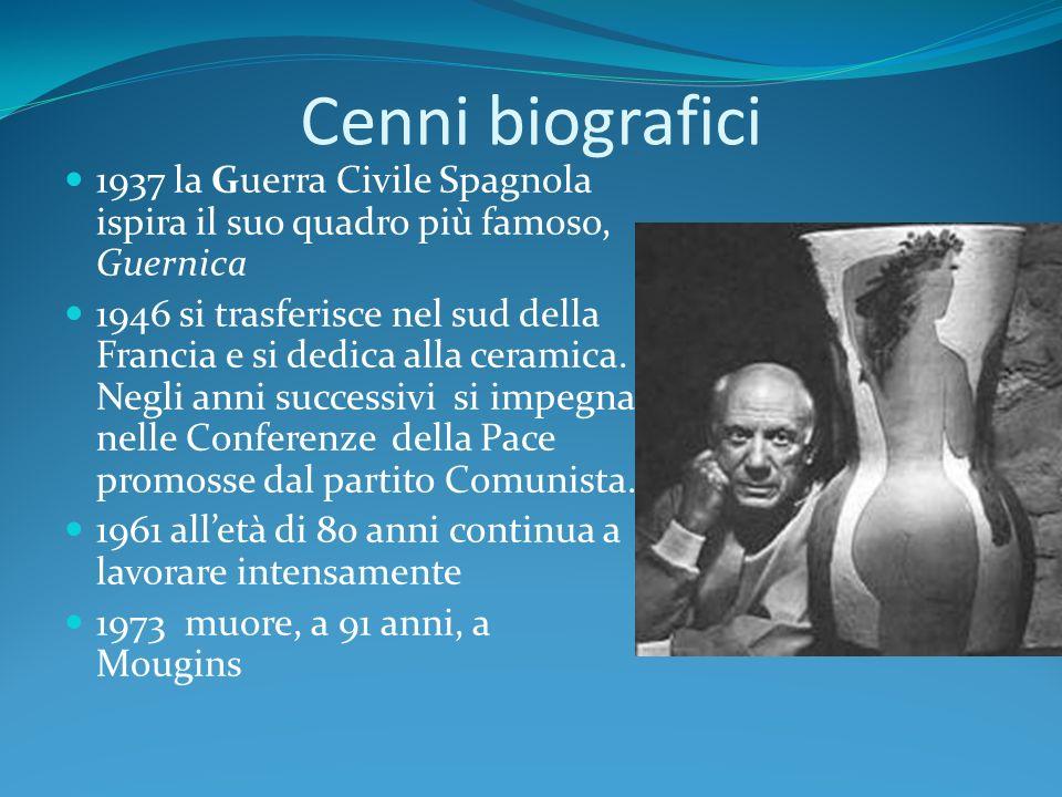 Cenni biografici 1937 la Guerra Civile Spagnola ispira il suo quadro più famoso, Guernica.