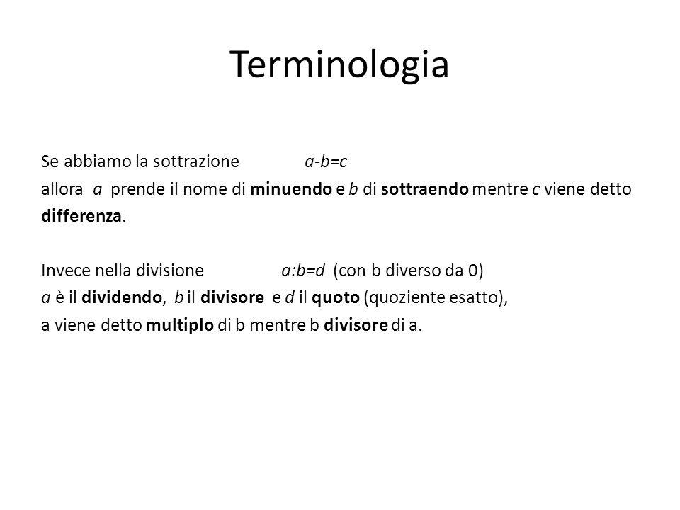 Terminologia Se abbiamo la sottrazione a-b=c