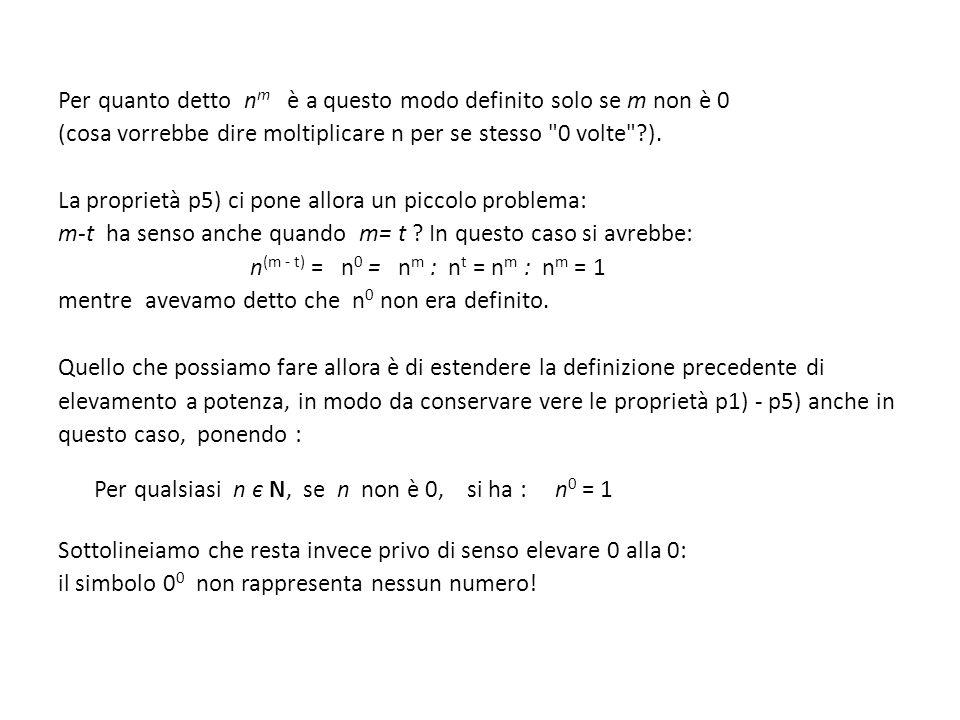Per quanto detto nm è a questo modo definito solo se m non è 0 (cosa vorrebbe dire moltiplicare n per se stesso 0 volte ).