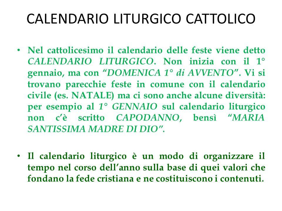 CALENDARIO LITURGICO CATTOLICO
