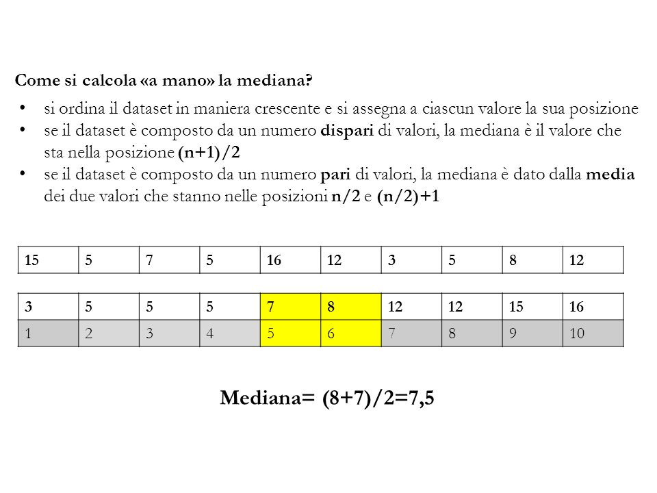 Mediana= (8+7)/2=7,5 Come si calcola «a mano» la mediana