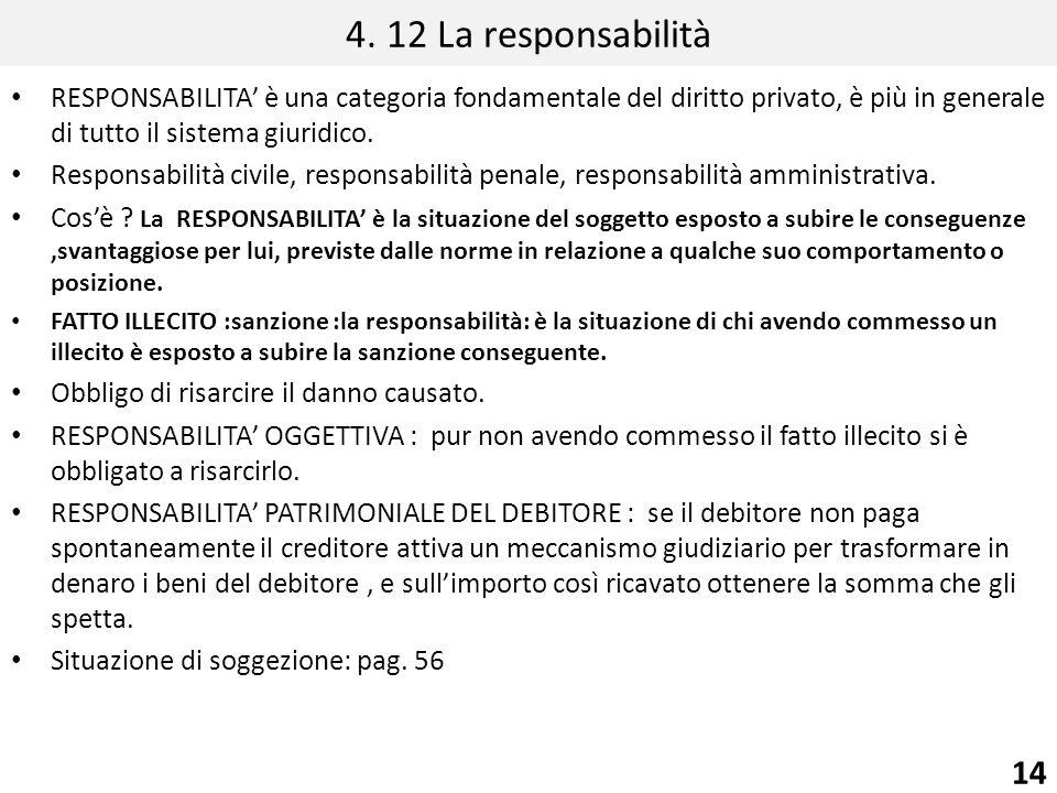 4. 12 La responsabilità RESPONSABILITA' è una categoria fondamentale del diritto privato, è più in generale di tutto il sistema giuridico.