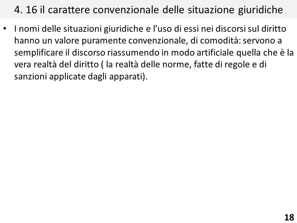 4. 16 il carattere convenzionale delle situazione giuridiche