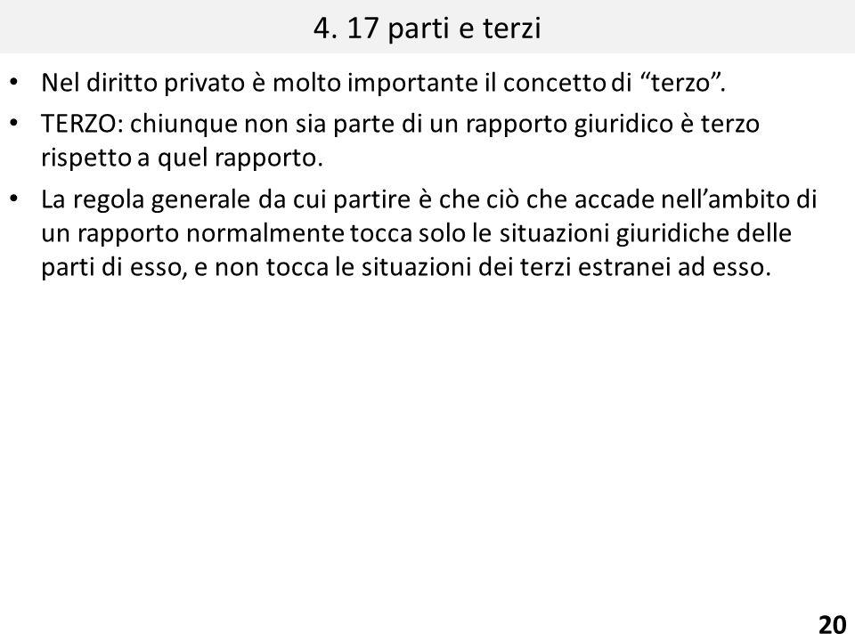 4. 17 parti e terzi Nel diritto privato è molto importante il concetto di terzo .