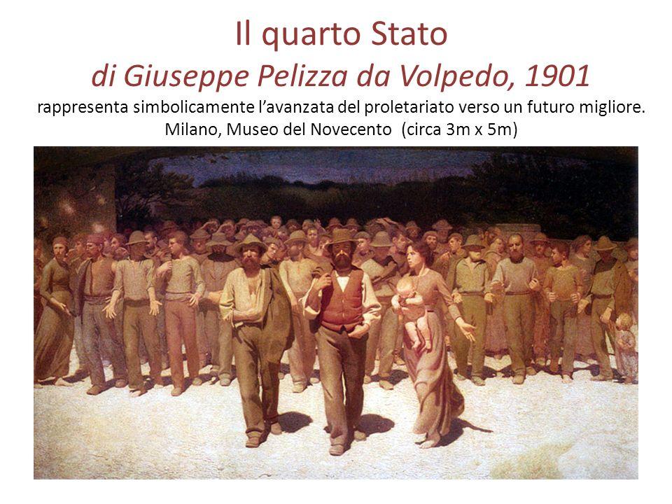 Il quarto Stato di Giuseppe Pelizza da Volpedo, 1901 rappresenta simbolicamente l'avanzata del proletariato verso un futuro migliore.