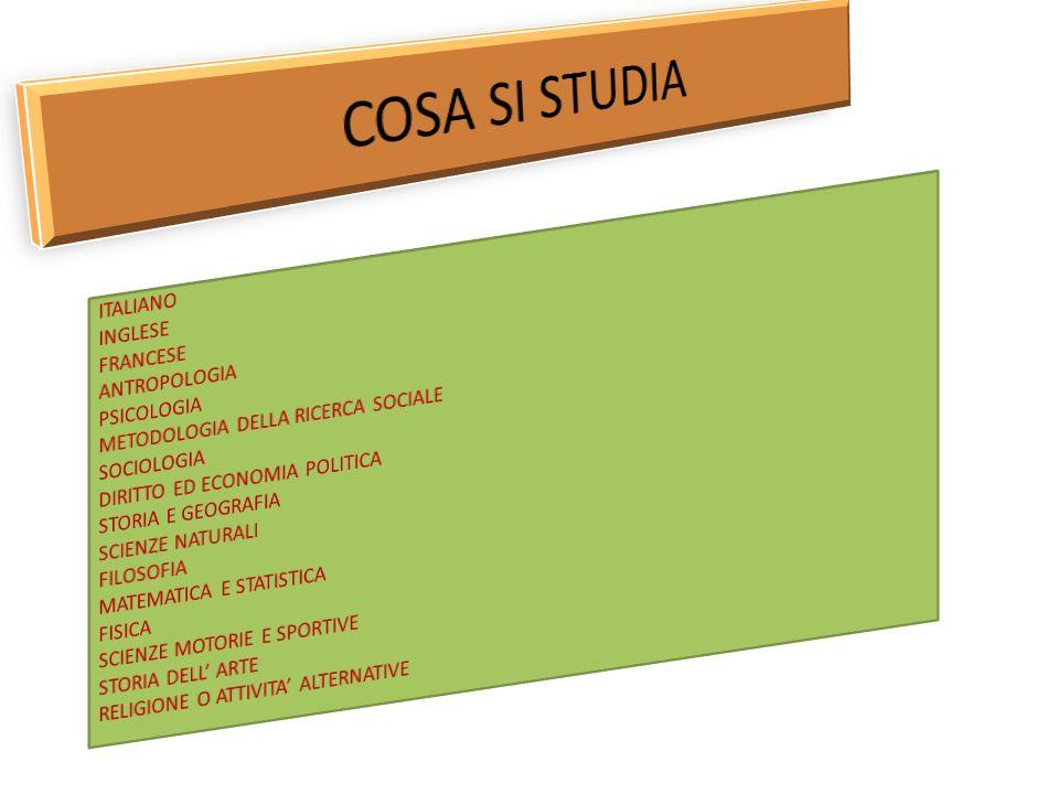COSA SI STUDIA ITALIANO INGLESE FRANCESE ANTROPOLOGIA PSICOLOGIA