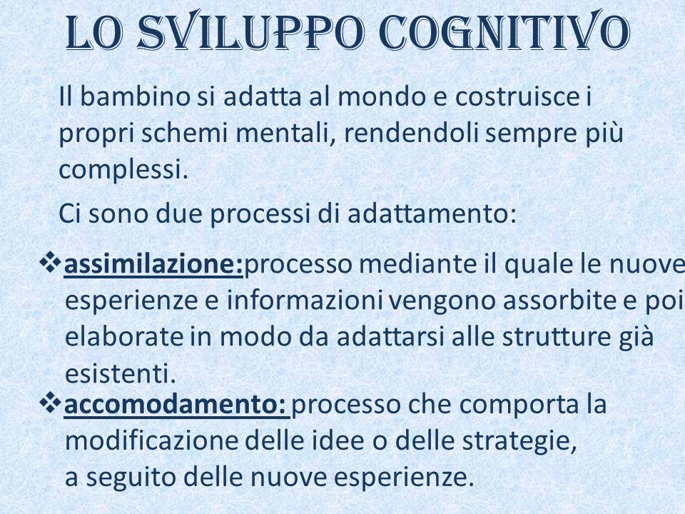 Lo sviluppo cognitivo Il bambino si adatta al mondo e costruisce i propri schemi mentali, rendendoli sempre più complessi.