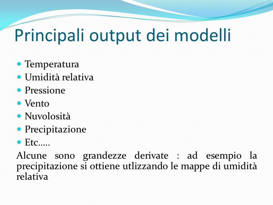 Principali output dei modelli