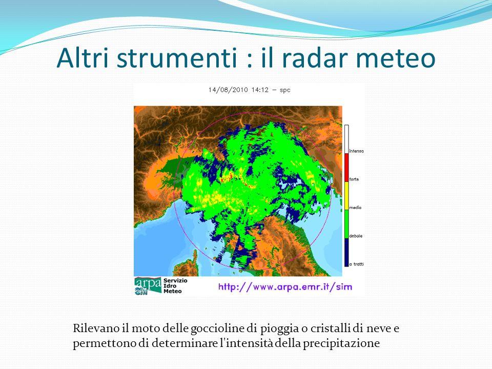 Altri strumenti : il radar meteo