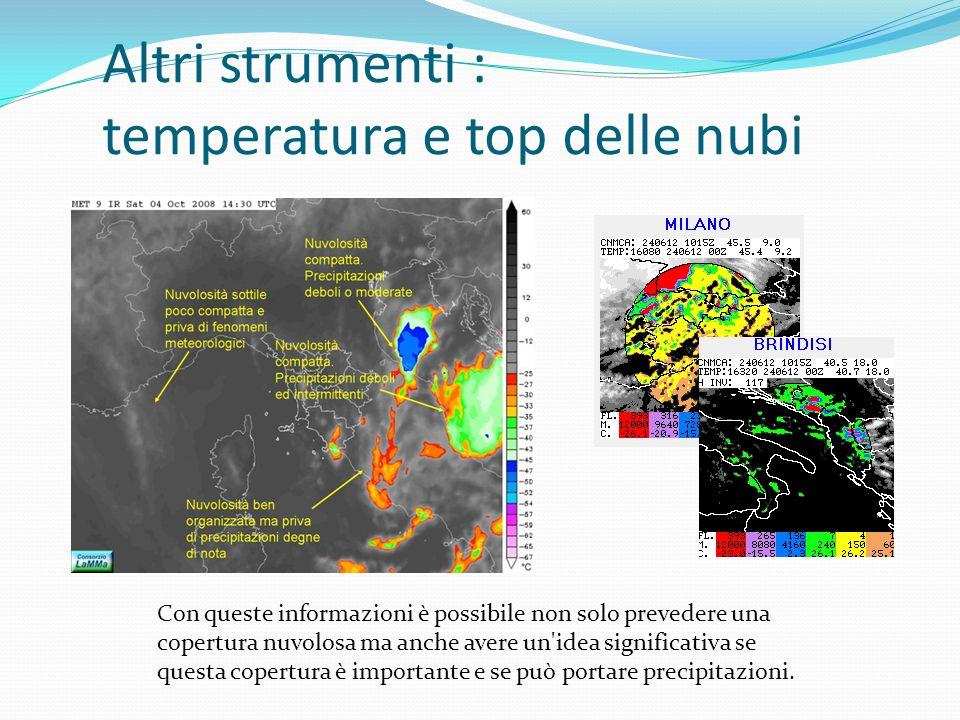 Altri strumenti : temperatura e top delle nubi