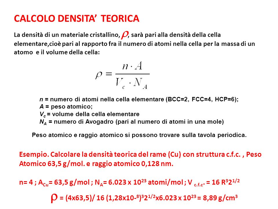 CALCOLO DENSITA' TEORICA