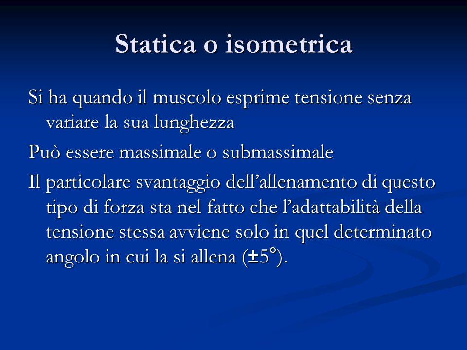 Statica o isometrica Si ha quando il muscolo esprime tensione senza variare la sua lunghezza. Può essere massimale o submassimale.