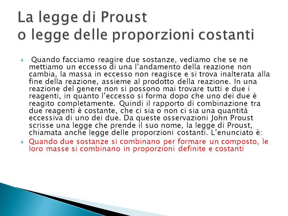 La legge di Proust o legge delle proporzioni costanti