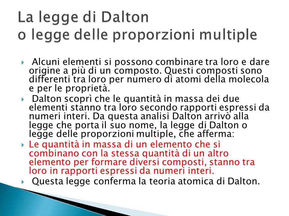 La legge di Dalton o legge delle proporzioni multiple