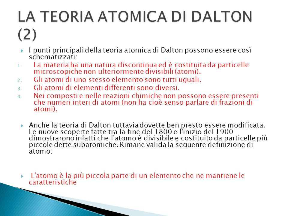 LA TEORIA ATOMICA DI DALTON (2)