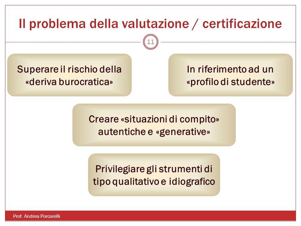 Il problema della valutazione / certificazione