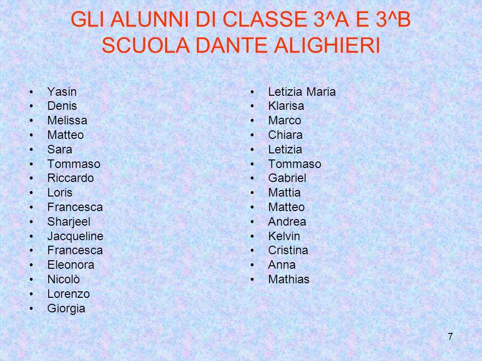 GLI ALUNNI DI CLASSE 3^A E 3^B SCUOLA DANTE ALIGHIERI