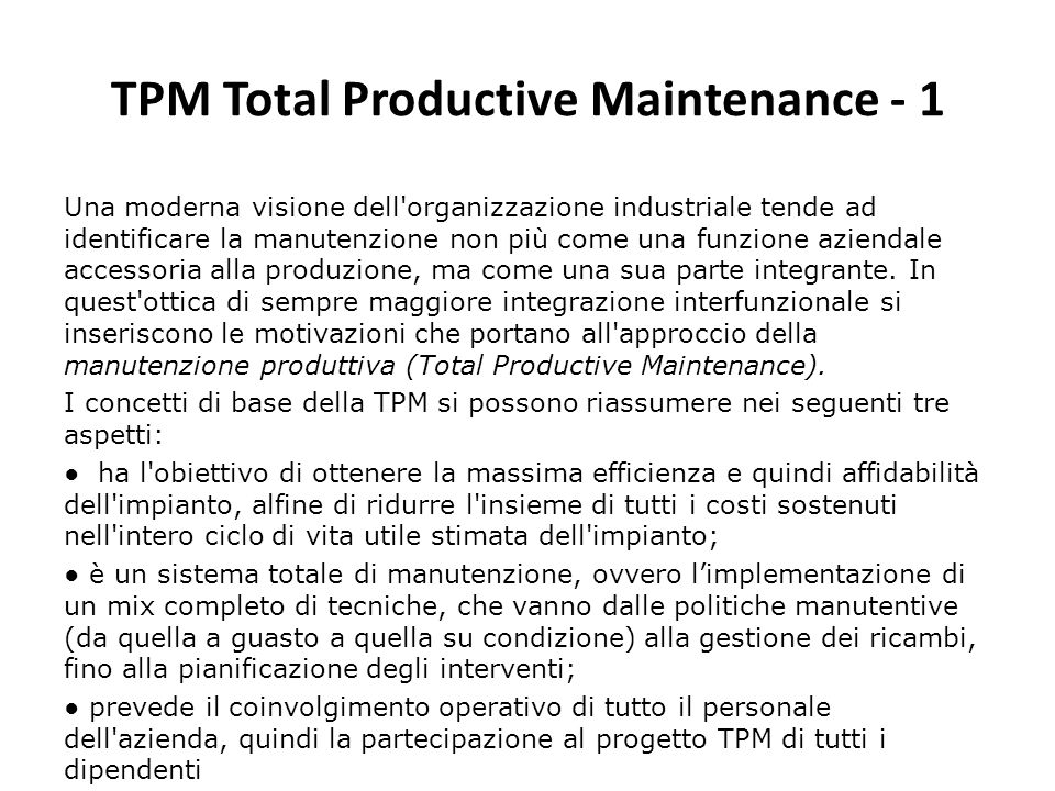 TPM Total Productive Maintenance - 1
