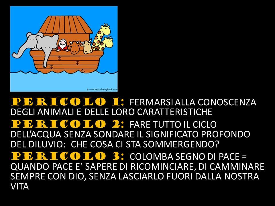 PERICOLO 1: FERMARSI ALLA CONOSCENZA DEGLI ANIMALI E DELLE LORO CARATTERISTICHE PERICOLO 2: FARE TUTTO IL CICLO DELL'ACQUA SENZA SONDARE IL SIGNIFICATO PROFONDO DEL DILUVIO: CHE COSA CI STA SOMMERGENDO.