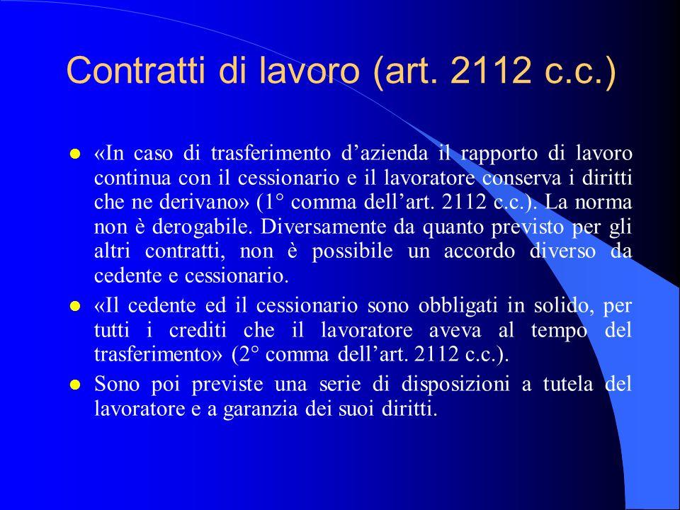 Contratti di lavoro (art. 2112 c.c.)