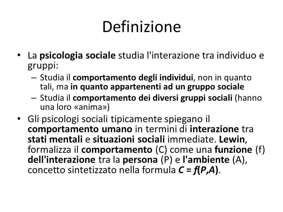 Definizione La psicologia sociale studia l interazione tra individuo e gruppi: