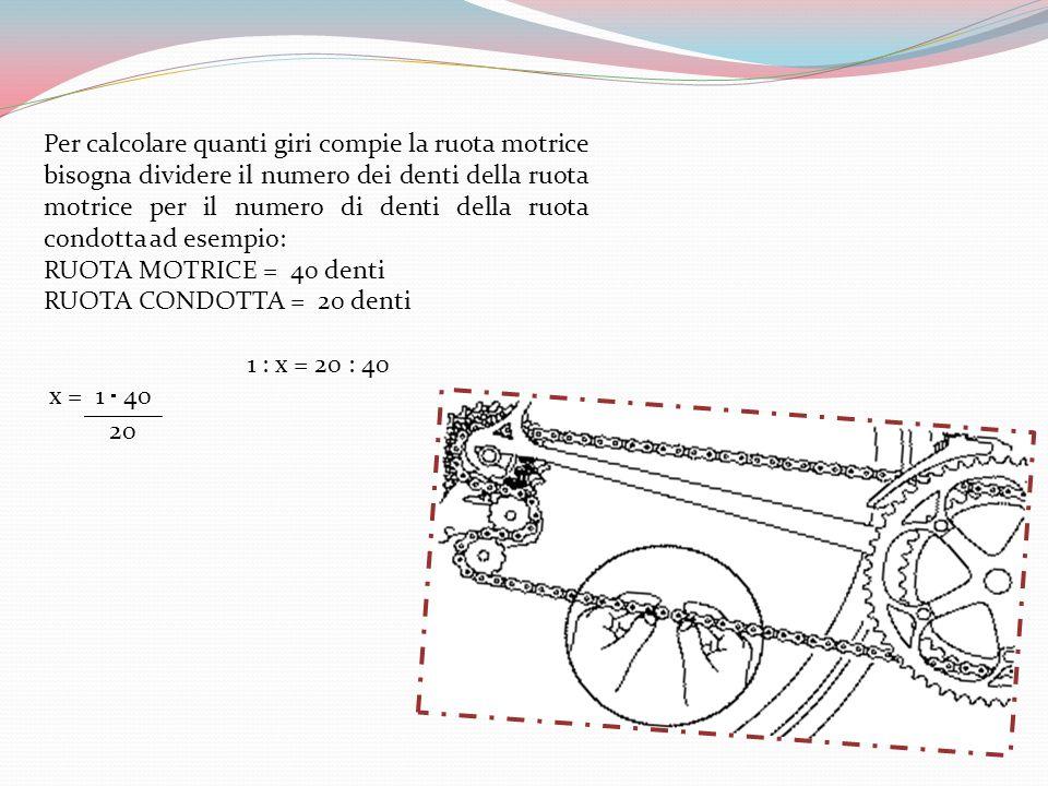 Per calcolare quanti giri compie la ruota motrice bisogna dividere il numero dei denti della ruota motrice per il numero di denti della ruota condotta ad esempio: