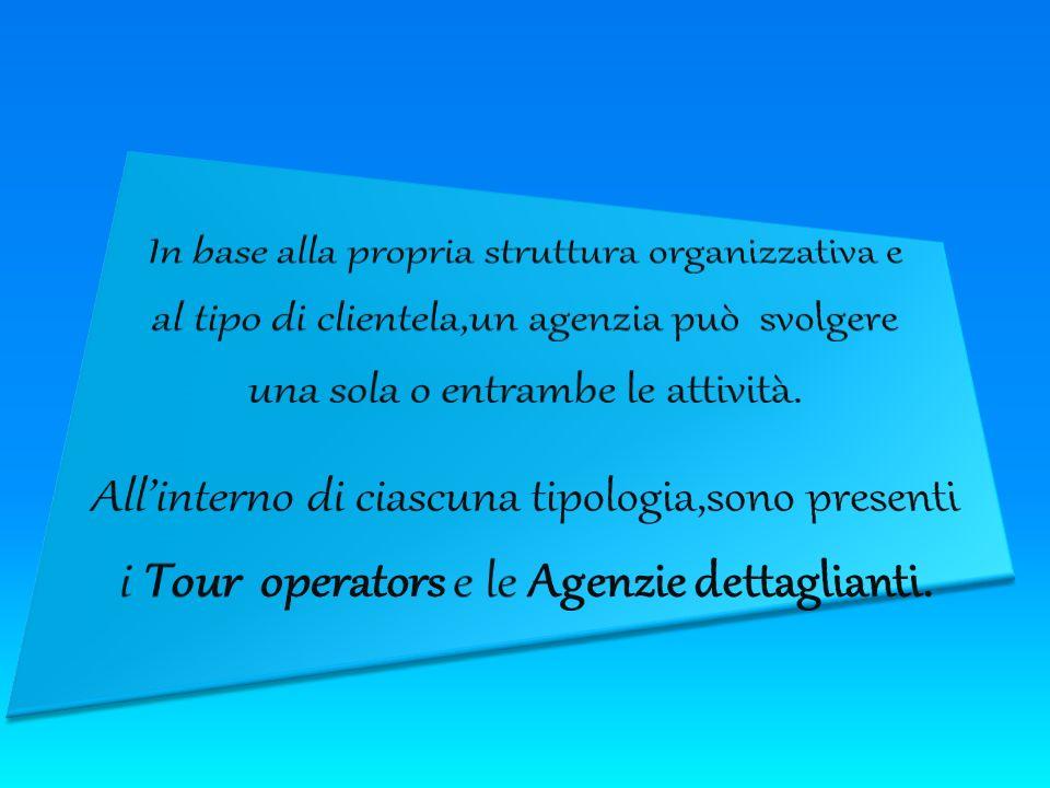 In base alla propria struttura organizzativa e al tipo di clientela,un agenzia può svolgere una sola o entrambe le attività.