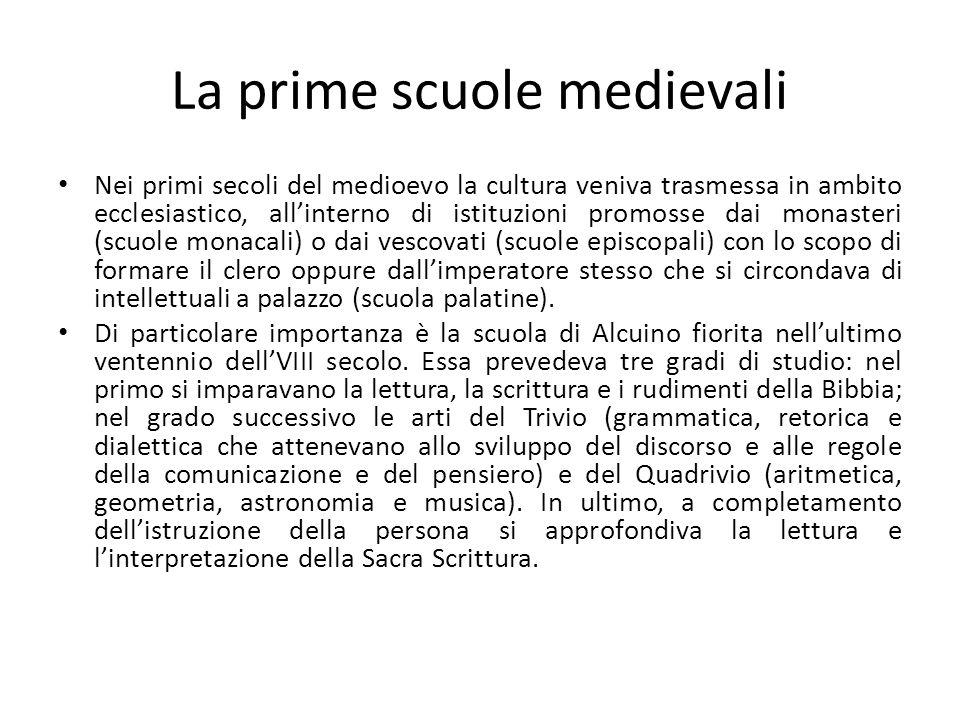 La prime scuole medievali