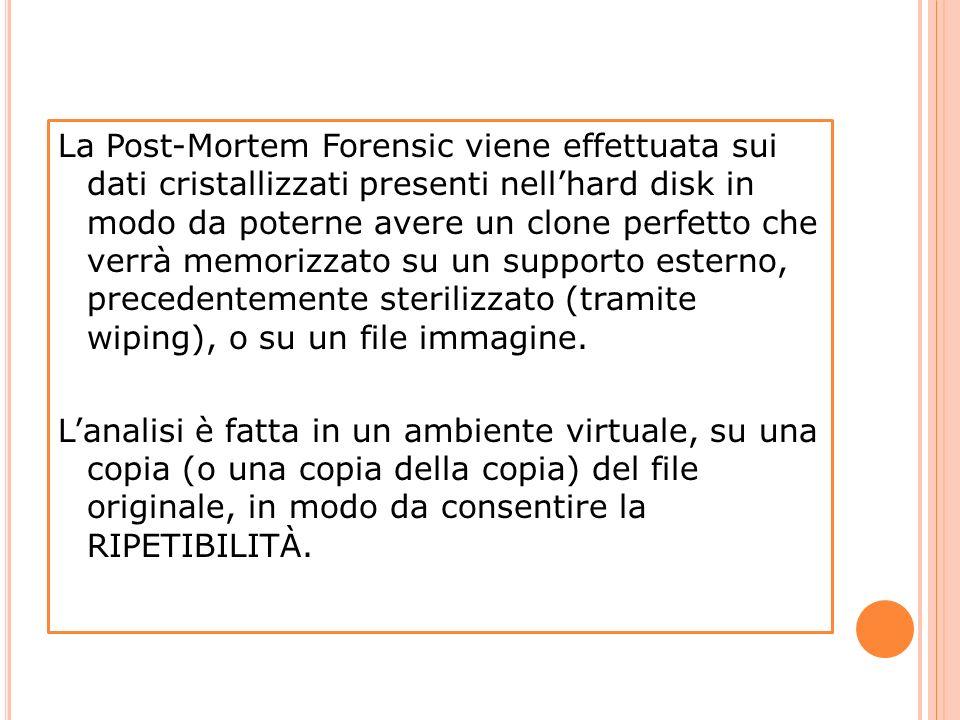 La Post-Mortem Forensic viene effettuata sui dati cristallizzati presenti nell'hard disk in modo da poterne avere un clone perfetto che verrà memorizzato su un supporto esterno, precedentemente sterilizzato (tramite wiping), o su un file immagine.