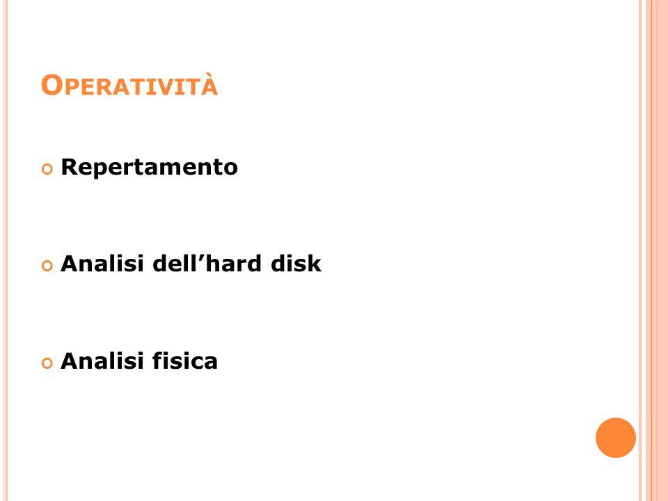 Operatività Repertamento Analisi dell'hard disk Analisi fisica