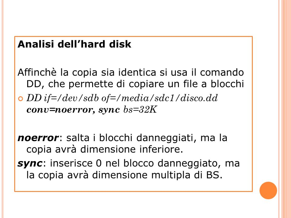 Analisi dell'hard disk