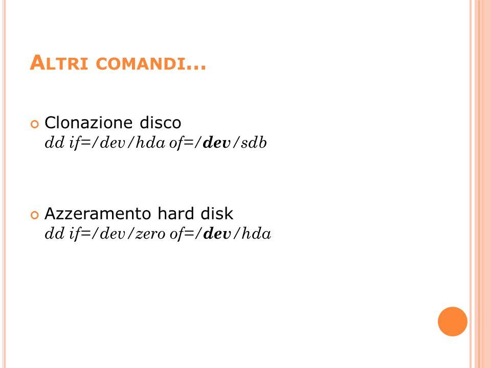 Altri comandi… Clonazione disco dd if=/dev/hda of=/dev/sdb