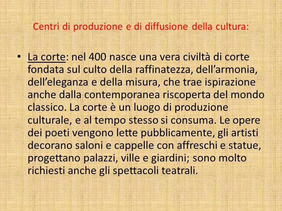 Centri di produzione e di diffusione della cultura: