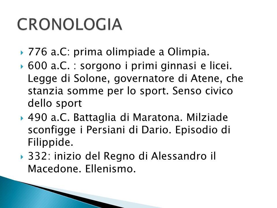 CRONOLOGIA 776 a.C: prima olimpiade a Olimpia.