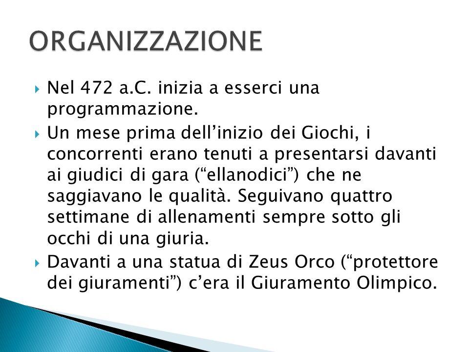 ORGANIZZAZIONE Nel 472 a.C. inizia a esserci una programmazione.