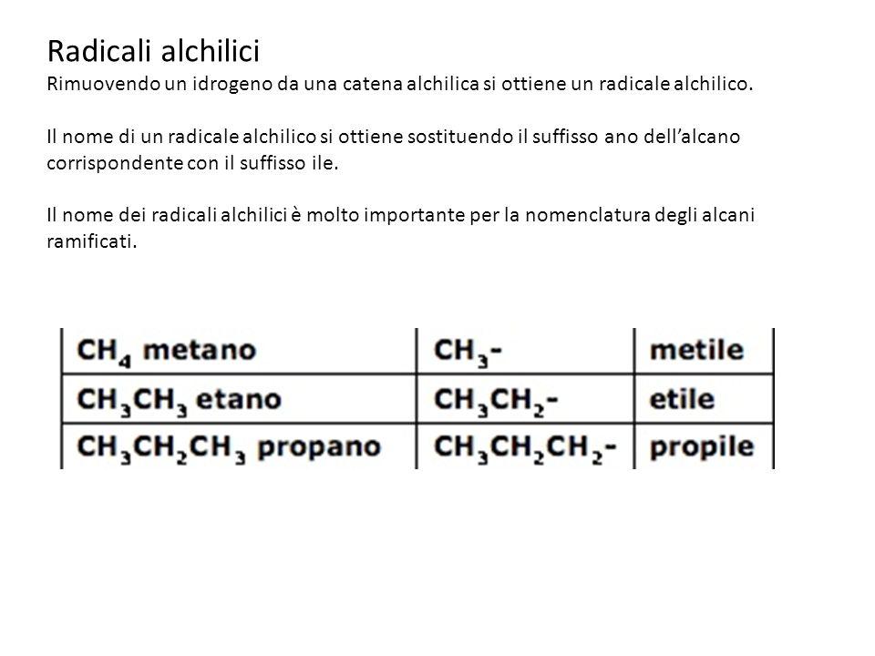Radicali alchilici Rimuovendo un idrogeno da una catena alchilica si ottiene un radicale alchilico.