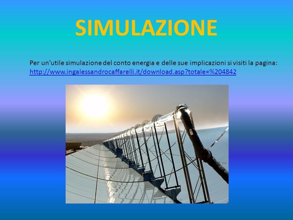 SIMULAZIONE Per un'utile simulazione del conto energia e delle sue implicazioni si visiti la pagina: