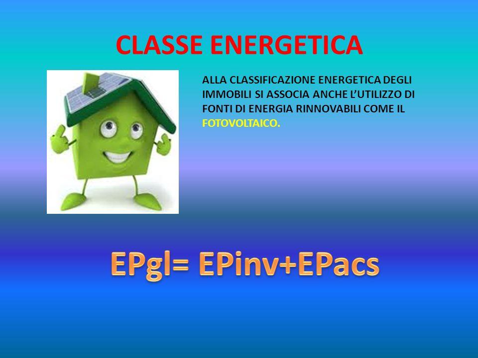 EPgl= EPinv+EPacs CLASSE ENERGETICA