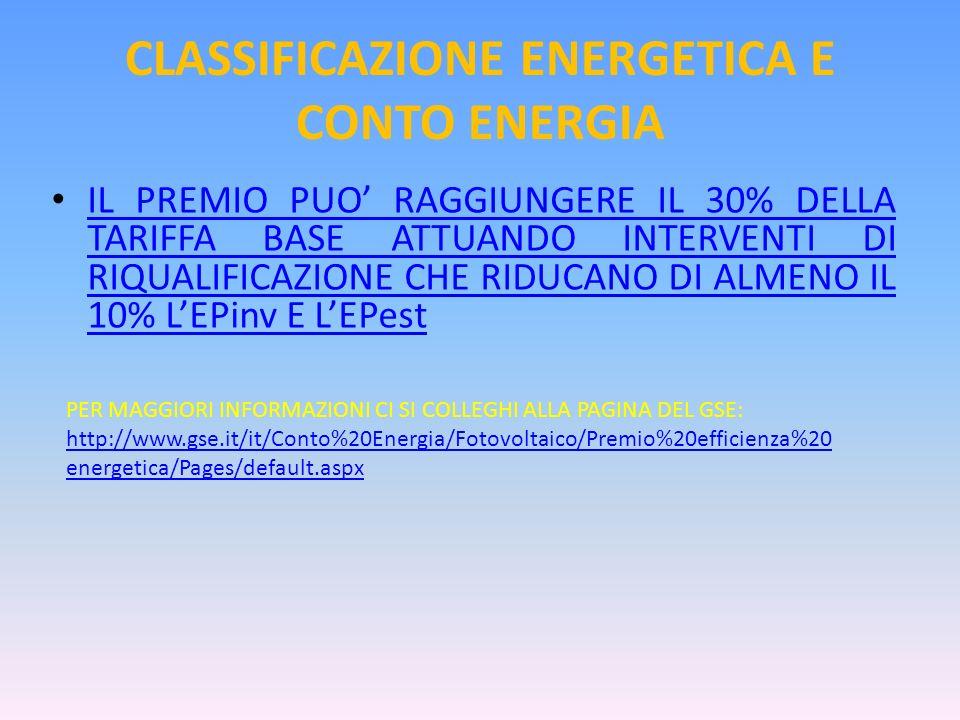 CLASSIFICAZIONE ENERGETICA E CONTO ENERGIA