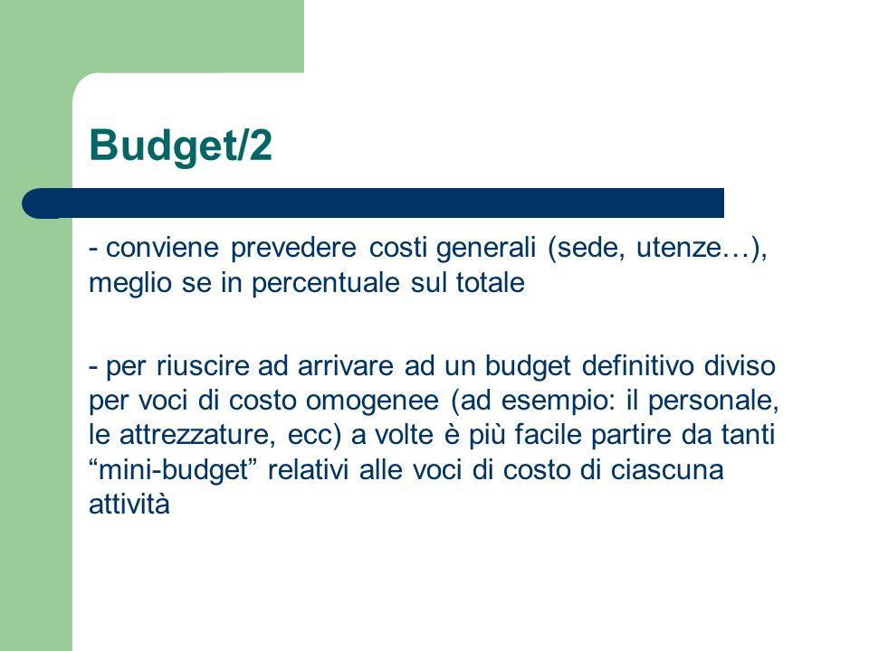 Budget/2 - conviene prevedere costi generali (sede, utenze…), meglio se in percentuale sul totale.