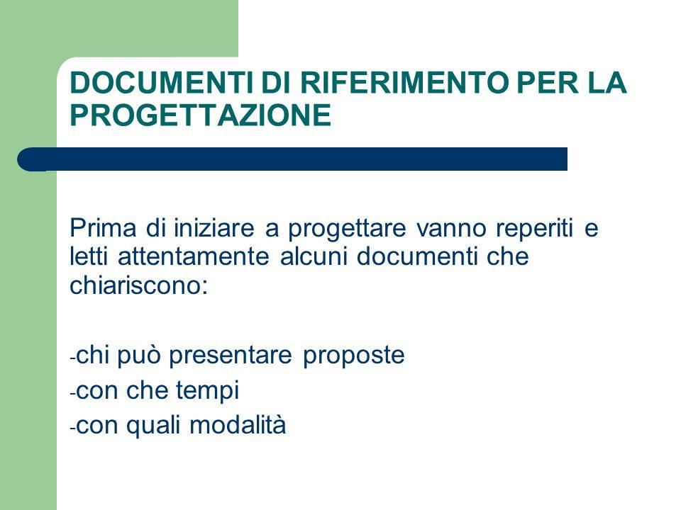 DOCUMENTI DI RIFERIMENTO PER LA PROGETTAZIONE
