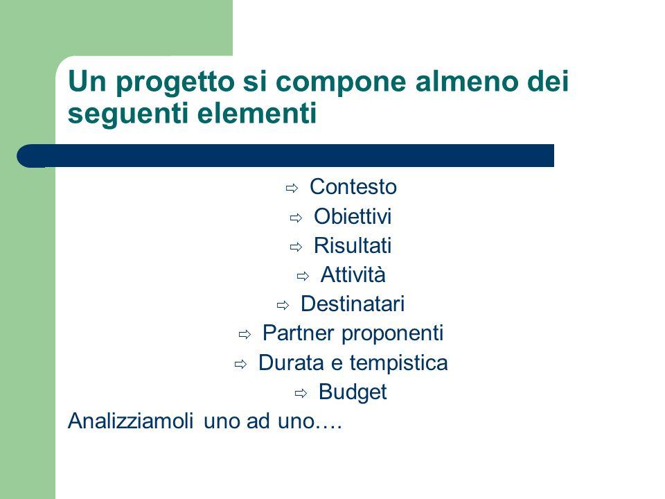 Un progetto si compone almeno dei seguenti elementi