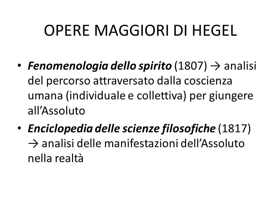 OPERE MAGGIORI DI HEGEL