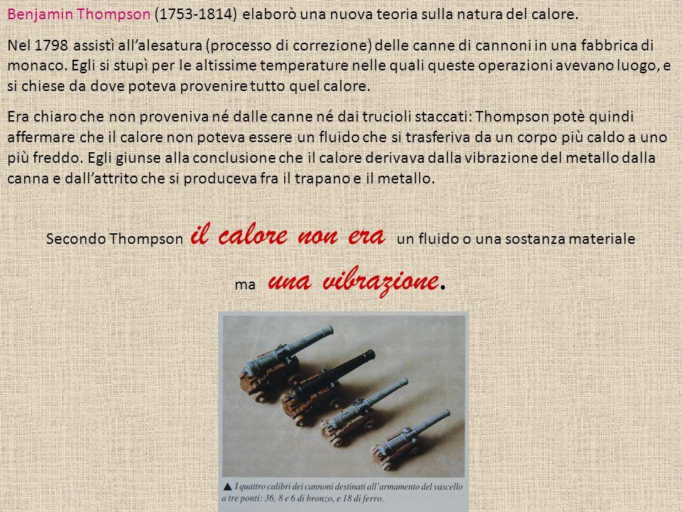 Benjamin Thompson (1753-1814) elaborò una nuova teoria sulla natura del calore.
