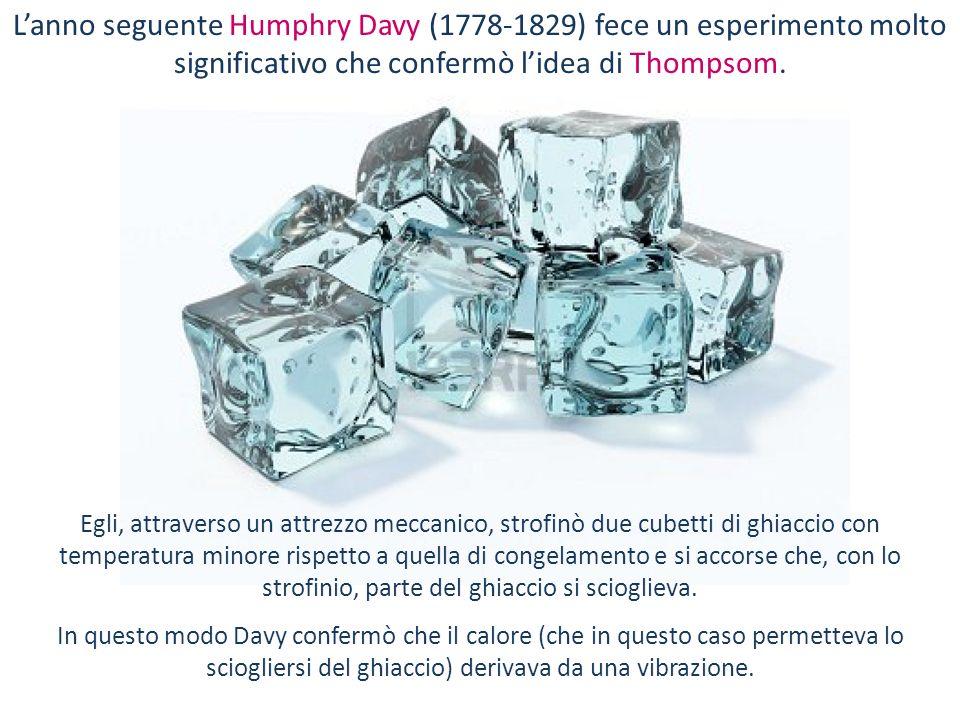 L'anno seguente Humphry Davy (1778-1829) fece un esperimento molto significativo che confermò l'idea di Thompsom.