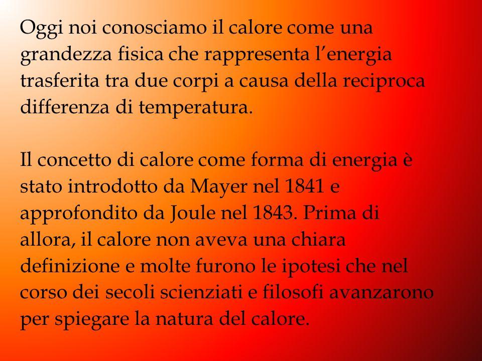Oggi noi conosciamo il calore come una grandezza fisica che rappresenta l'energia trasferita tra due corpi a causa della reciproca differenza di temperatura.