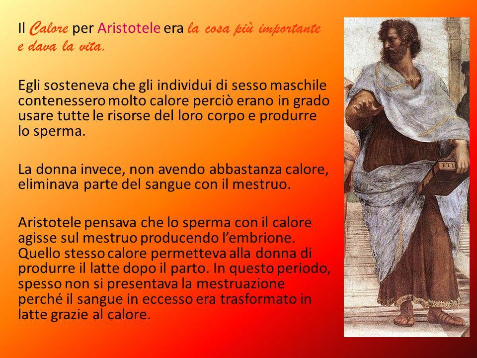 Il Calore per Aristotele era la cosa più importante e dava la vita.