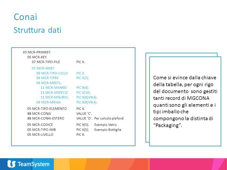 Conai Struttura dati. 03 MCR-PRIMKEY. 05 MCR-KEY. 07 MCR-TIPO-FILE PIC X. 07 MCR-MKEY. 09 MCR-TIPO-CICLO PIC X.