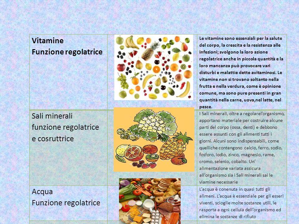 Sali minerali funzione regolatrice e cosruttrice